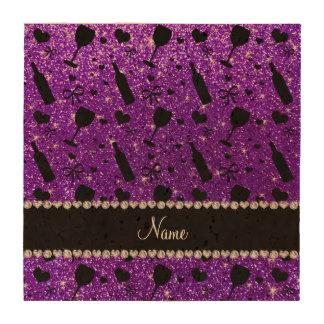 name indigo purple glitter wine glass bottle coasters