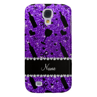 name indigo purple glitter wine glass bottle samsung s4 case