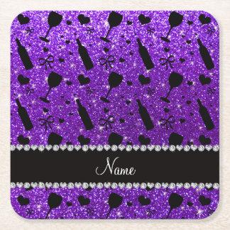 name indigo purple glitter wine glass bottle square paper coaster