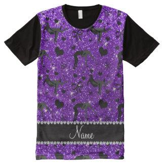 Name indigo purple glitter wrestling hearts bows All-Over print t-shirt