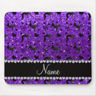 Name indigo purple glitter wrestling hearts bows mouse pad