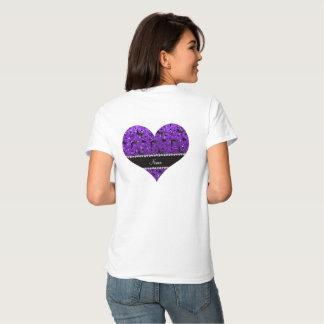 Name indigo purple glitter wrestling hearts bows tee shirt