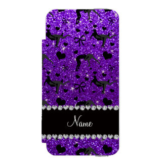 Name indigo purple glitter wrestling hearts bows wallet case for iPhone SE/5/5s
