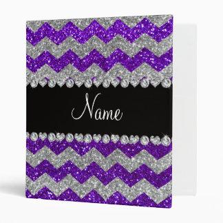 Name indigo purple silver glitter chevrons vinyl binders