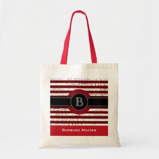 name&initial black/red monogram tote bag