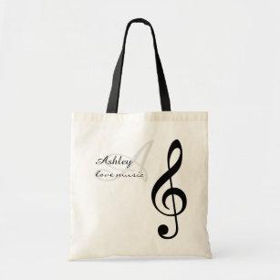 Name Initial Black Treble Clef Music Tote Bag