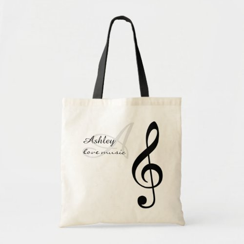 name initial  black treble clef music tote bag