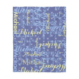 name   initial blue boys pattern fleece blanket