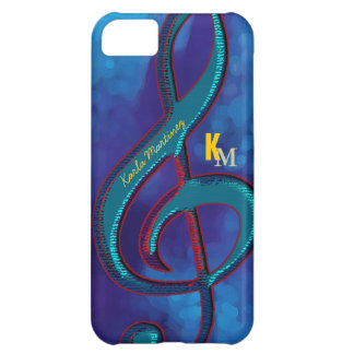 name initials clave music note blue case for iPhone 5C