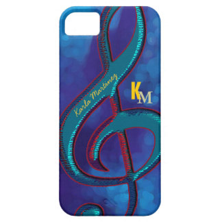 name initials clave music note blue iPhone SE/5/5s case