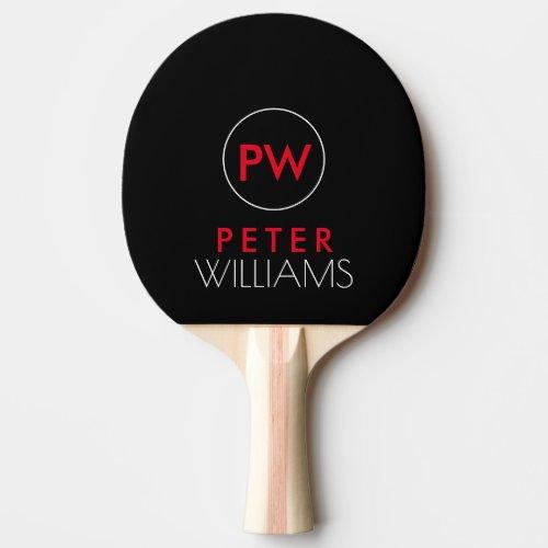 name  initials monogram on cool black ping pong paddle