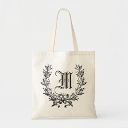 name initials monogram tote bag