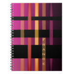 Name Initials or Word & Modern Weaving Stripes Notebook