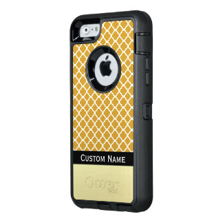 Name It Mustard Yellow Quatrefoil Moroccan Pattern OtterBox Defender iPhone Case