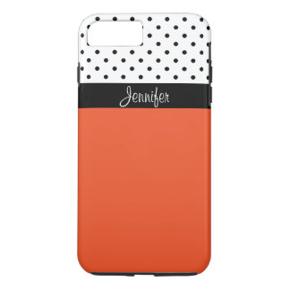 Name It! Tangerine T, Black White Dots Color Block iPhone 7 Plus Case