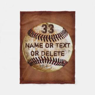 Name, Jersey Number Cool Baseball Blanket, 3 Sizes