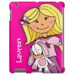Name kid girl blonde cuddles pink purple ipad case