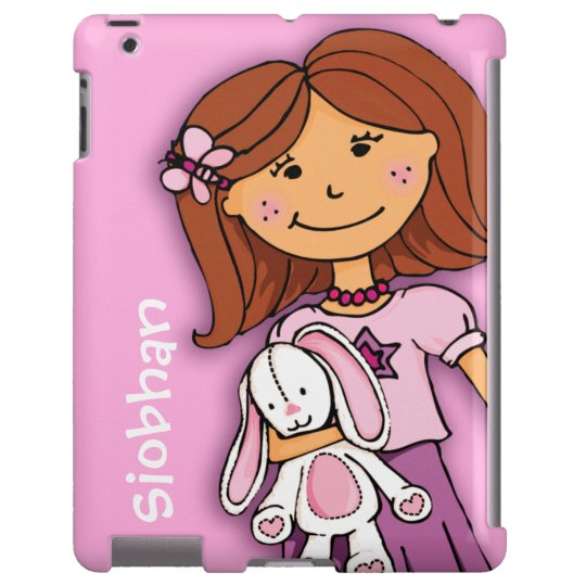Name kid girl cuddles pink purple ipad case