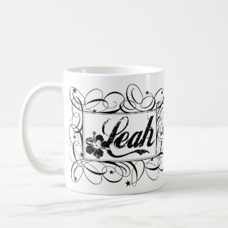 Name Leah in black inside stylish frame Coffee Mug