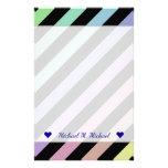 [ Thumbnail: Name + Light Pastel Colors & Black Stripes Pattern Stationery ]
