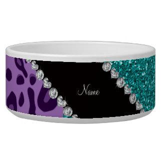 Name light purple leopard turquoise glitter bowl