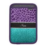 Name light purple leopard turquoise glitter iPad mini sleeve