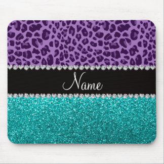Name light purple leopard turquoise glitter mouse pad