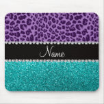 Name light purple leopard turquoise glitter mouse pads