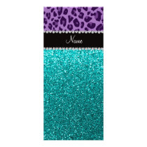 Name light purple leopard turquoise glitter rack card