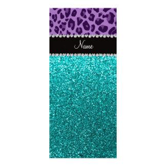 Name light purple leopard turquoise glitter rack card
