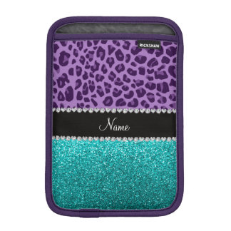 Name light purple leopard turquoise glitter sleeve for iPad mini