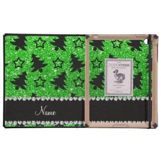 Name lime green glitter christmas trees stars iPad cover