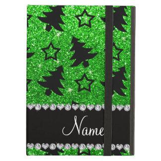 Name lime green glitter christmas trees stars iPad air cover