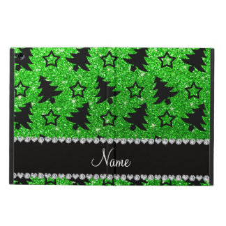 Name lime green glitter christmas trees stars case for iPad air