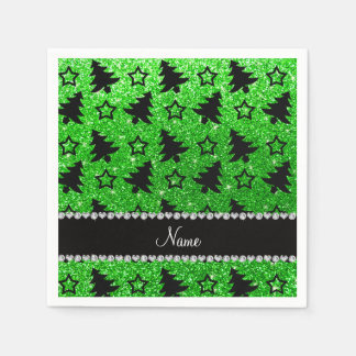 Name lime green glitter christmas trees stars paper napkins