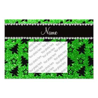 Name lime green glitter christmas trees stars photographic print