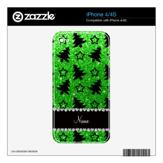 Name lime green glitter christmas trees stars skin for the iPhone 4S