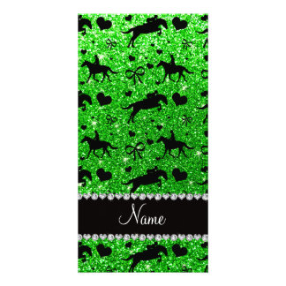 Name lime green glitter equestrian hearts bows picture card