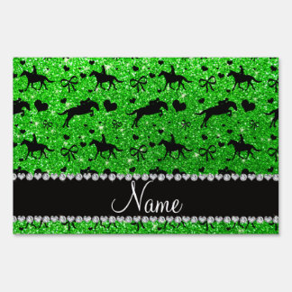 Name lime green glitter equestrian hearts bows lawn sign
