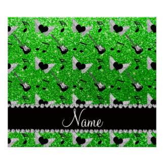 Name lime green glitter guitars heart wings music poster