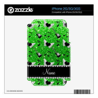 Name lime green glitter guitars heart wings music skins for the iPhone 3G