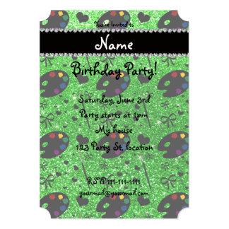 name lime green glitter painter palette brushes card