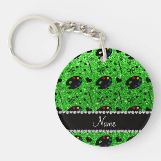 name lime green glitter painter palette brushes Double-Sided round acrylic keychain