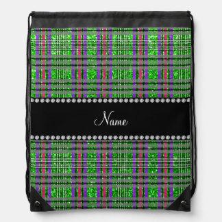 Name lime green glitter pink purple plaid drawstring backpack