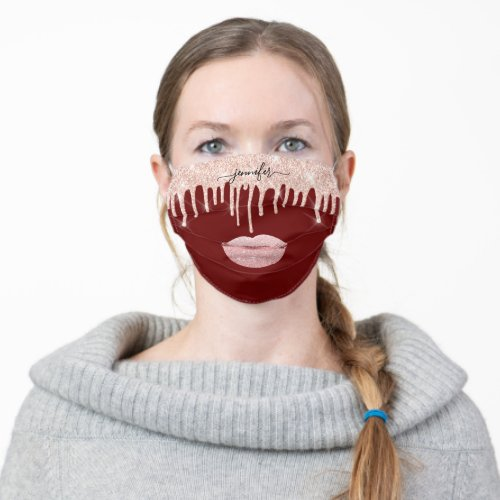 Name Lips Rose Burgundy Blush Drips Makeup Artist Cloth Face Mask