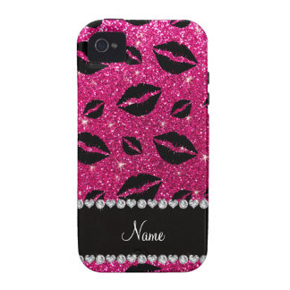 Name lipstick kisses neon hot pink glitter Case-Mate iPhone 4 cover