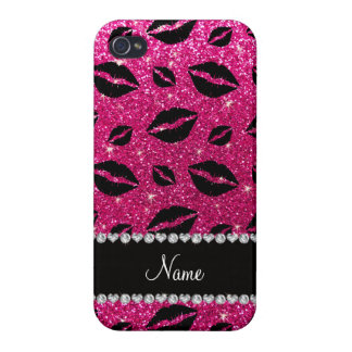 Name lipstick kisses neon hot pink glitter covers for iPhone 4