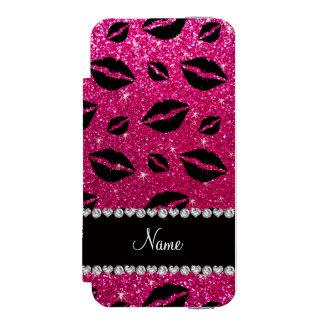 Name lipstick kisses neon hot pink glitter incipio watson™ iPhone 5 wallet case