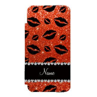 Name lipstick kisses neon orange glitter incipio watson™ iPhone 5 wallet case