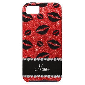 Name lipstick kisses neon red glitter iPhone 5 case